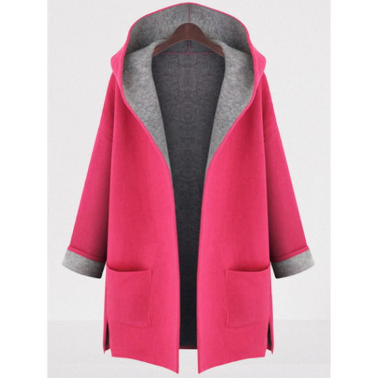 Hooded  Patch Pocket Side Slit  Color Block  Roll Up Sleeve Coats