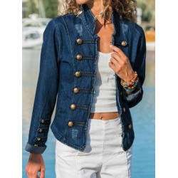 Slim-fit Denim Jacket With Double-breasted Buttons