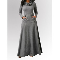 Autumn And Winter Solid Color Stitching Pocket Bib And Big Swing Long Dress