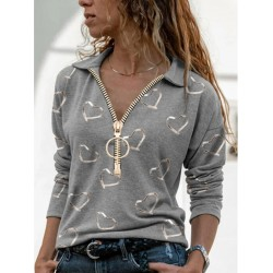 V-neck long-sleeved loose casual printed top with zipper lapel T-shirt