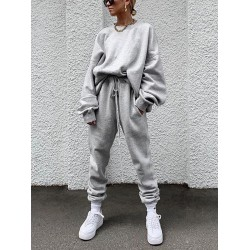 Women's Individuality Loose Pure Colour Sports Suit