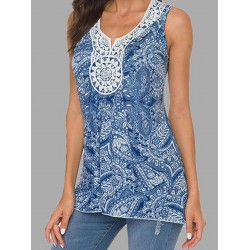 Sleeveless printed neckline lace pullover T-shirt