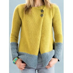 Casual long-sleeved round-collar button sweater