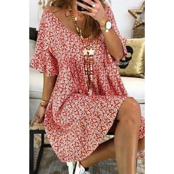 Boho Floral Pattern Bell Sleeve Dress