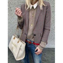 Stylish Plaid Long-Sleeve Blazer