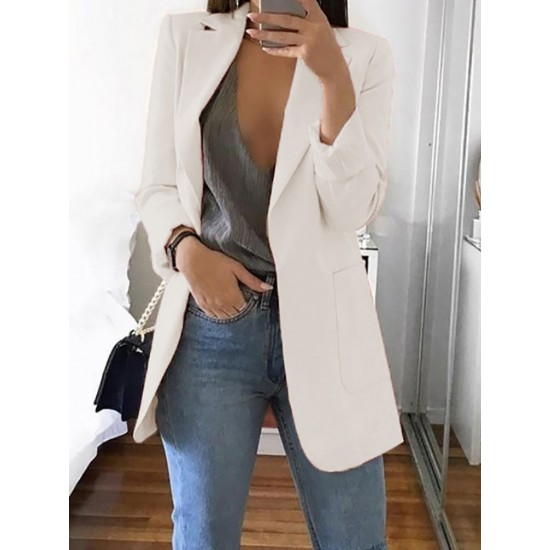 Fashion Pure Colour Long Sleeve Bodycon Blazer