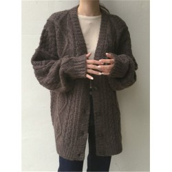 Women's Casual Loose Knit Twist Cardigan