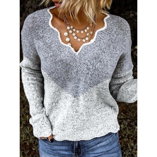 Fashion colouring long sleeve ripple neck sweater
