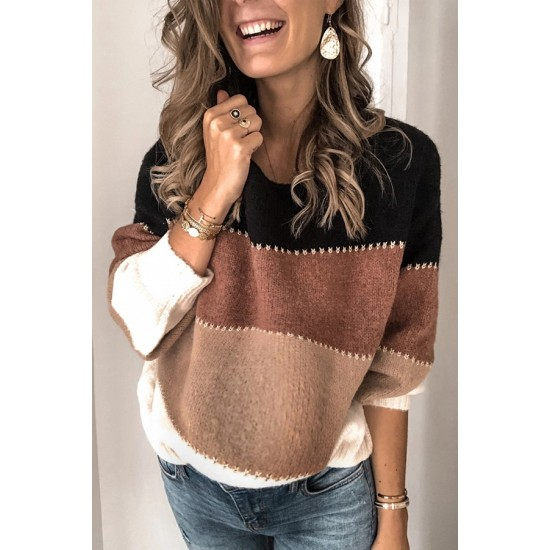 Casual patchwork long-sleeved sweater