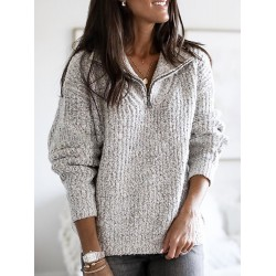 Women Casual Zipper Sweater V Neck Plus Size Long Sleeve Pullover