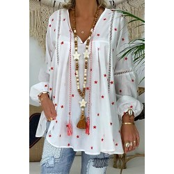 Basics V Neck Printed Colour Hollow Out Shirt