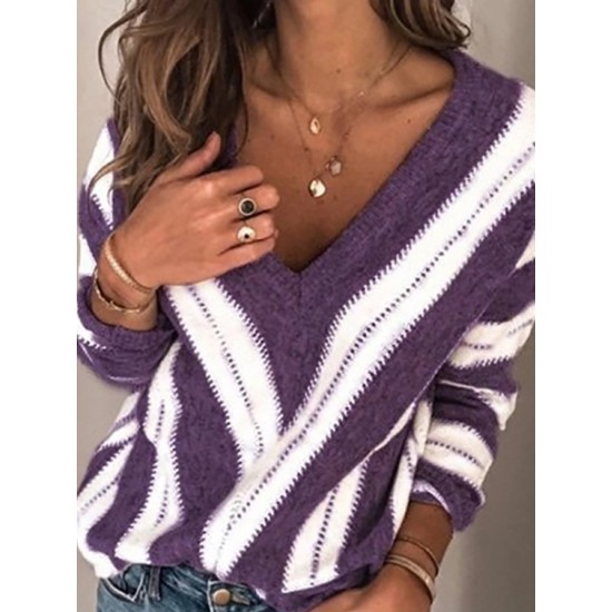 Women's Casual Deep V-Neck Long Sleeve Long Sleeve Loose Sweater