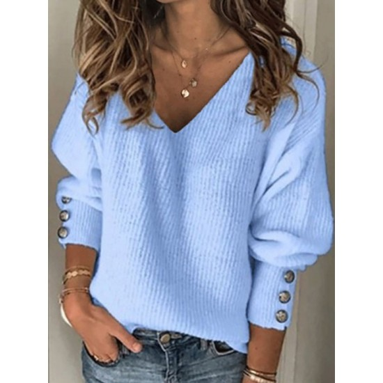 Women's fashion solid color wild V-neck loose sweater