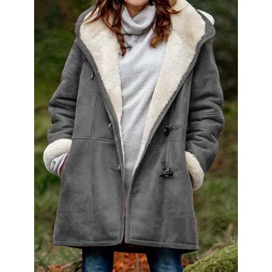 Fold-Over Collar Plush Outerwear