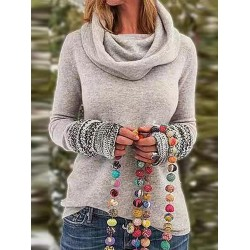 Retro Womens Print Scarf Collar Pure Color Sweater