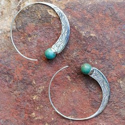Women's Vintage Carved Turquoise Round Earrings