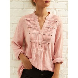 Women's Chic Pleated V-Neck Solid Color Long Sleeve Shirt
