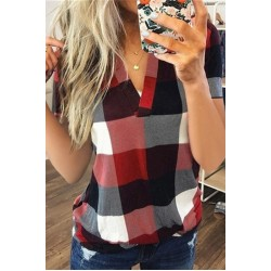 Women's Casual Plaid Printed V-Neck Short Sleeve T-Shirt