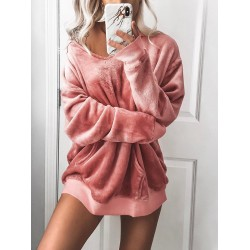 Womens Casual Round Neck Loose Velvet Sweatshirt