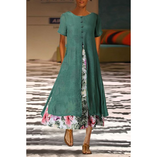 National Style Cotton And Linen Printed Dress False Two-Piece