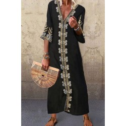Women's Casual Printed Color Long Sleeve Beach Dress