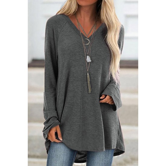 V Neck Loose-Fitting Plain T-shirt