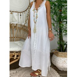 Linen and lace lace panel sleeveless maxi dress
