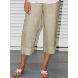 Womens linen-paneled cropped pants