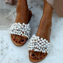 Women's flat bottom leisure pearl decoration outdoor slippers