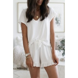 Solid color round neck short sleeve pajamas set