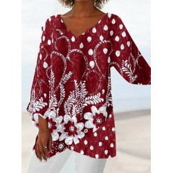Plus Size Loose Solid Color Printed V Neck Blouse