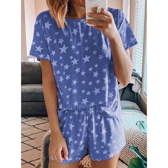 casual digital printing star pajamas short-sleeved home service suit