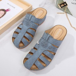 Women's solid color round bottom slippers