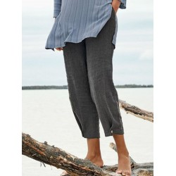 Women's Washed Bamboo Section Two Button Pants