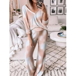 Tie-dye V-neck long sleeve top flare pants two-piece suit