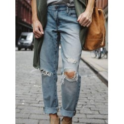 Women's ripped loose denim trousers