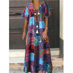 Loose V-neck Printed Cotton And Linen Long Dress