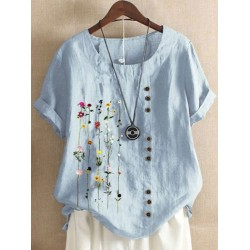 Retro Cotton And Linen Printed Short-Sleeved Blouse