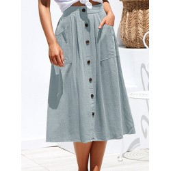 All-match Solid Color Button Pocket Skirt