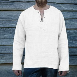 Solid color loose V-neck long sleeve cotton and linen T-shirt