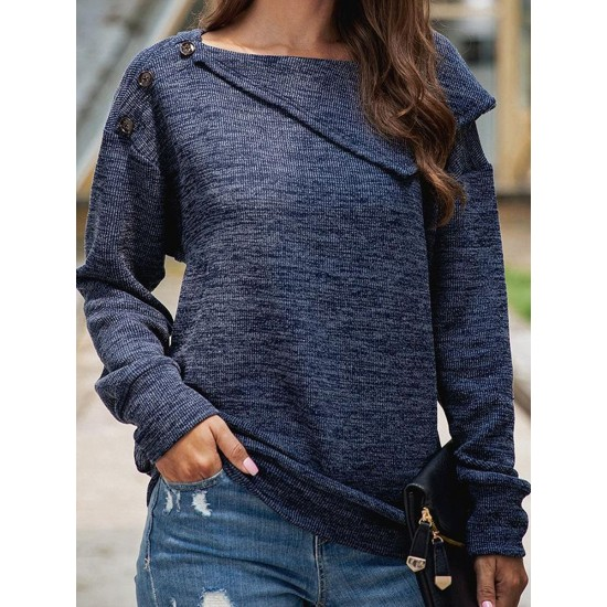 Casual Large Lapel Button Up Sweater