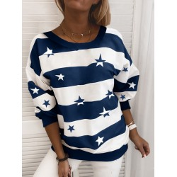 Casual Striped Star Long Sleeve Sweater
