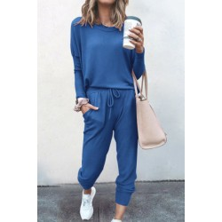 Solid Casual Two-piece Outfits