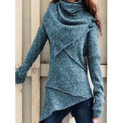 Solid Color Stitching Asymmetric Sweater