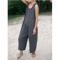 Womens pocket solid color cotton and linen loose jumpsuit