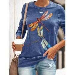 Dragonfly Print Long Sleeve T-shirt