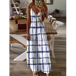 Brief Casual Plaid Printed Ankle Length Sling Maxi Dress