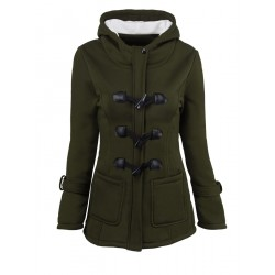 Casual Horn Button Hooded Coat
