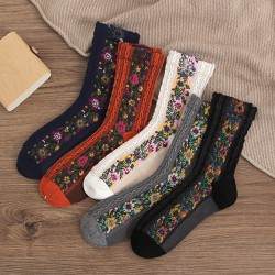 Retro Ethnic Flower Embroidery Socks