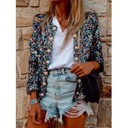 vintage round neck Sequin pearl buttons long sleeves jacket